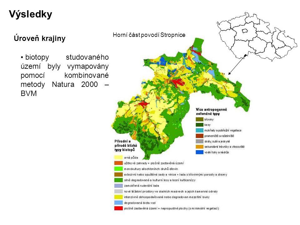 Výsledky biotopy studovaného území byly vymapovány pomocí kombinované metody Natura 2000 – BVM Horní část povodí Stropnice Úroveň krajiny