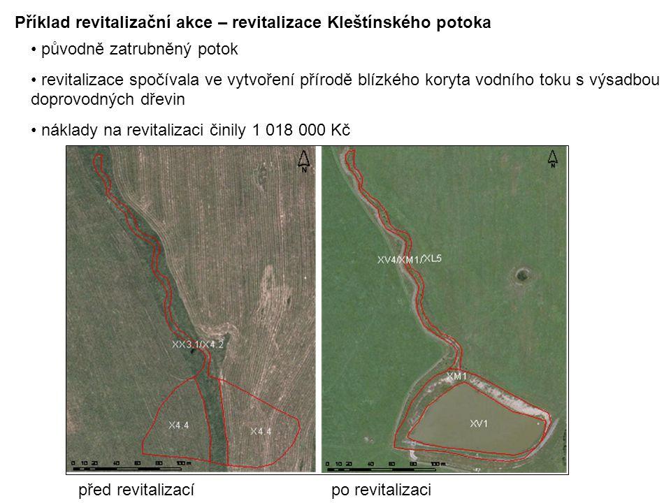 Příklad revitalizační akce – revitalizace Kleštínského potoka původně zatrubněný potok revitalizace spočívala ve vytvoření přírodě blízkého koryta vod
