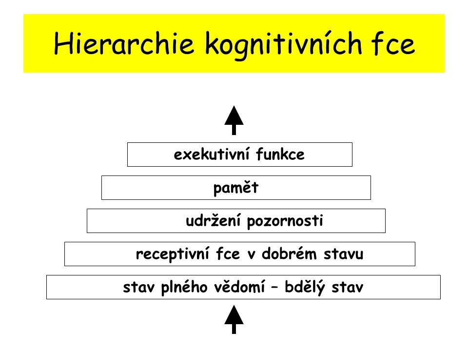 Hierarchie kognitivních fce stav plného vědomí – bdělý stav udržení pozornosti receptivní fce v dobrém stavu pamět exekutivní funkce