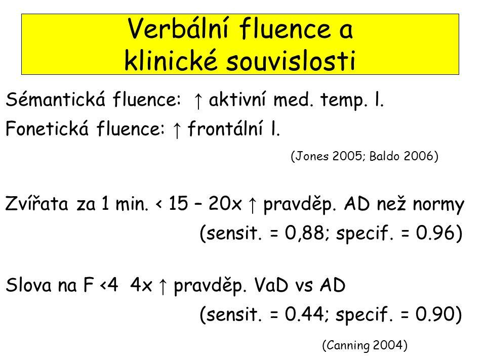 Sémantická fluence: ↑ aktivní med.temp. l. Fonetická fluence: ↑ frontální l.