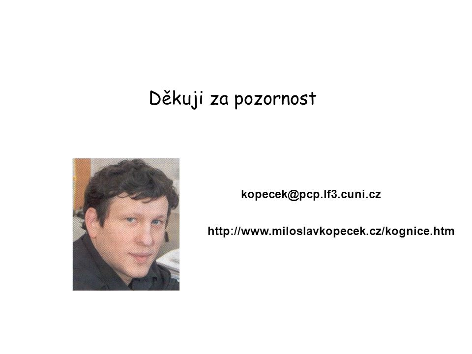 Děkuji za pozornost kopecek@pcp.lf3.cuni.cz http://www.miloslavkopecek.cz/kognice.htm