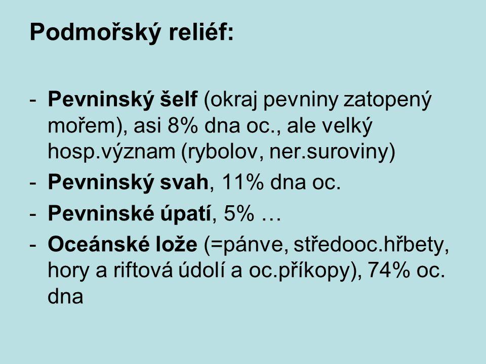 Podmořský reliéf: -Pevninský šelf (okraj pevniny zatopený mořem), asi 8% dna oc., ale velký hosp.význam (rybolov, ner.suroviny) -Pevninský svah, 11% dna oc.