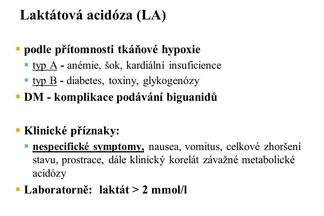 Laktátová acidóza (LA)  podle přítomnosti tkáňové hypoxie  typ A - anémie, šok, kardiální insuficience  typ B - diabetes, toxiny, glykogenózy  DM