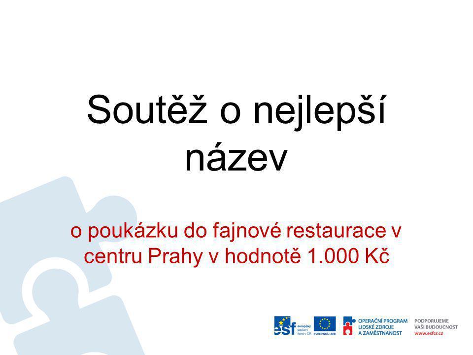 Soutěž o nejlepší název o poukázku do fajnové restaurace v centru Prahy v hodnotě 1.000 Kč