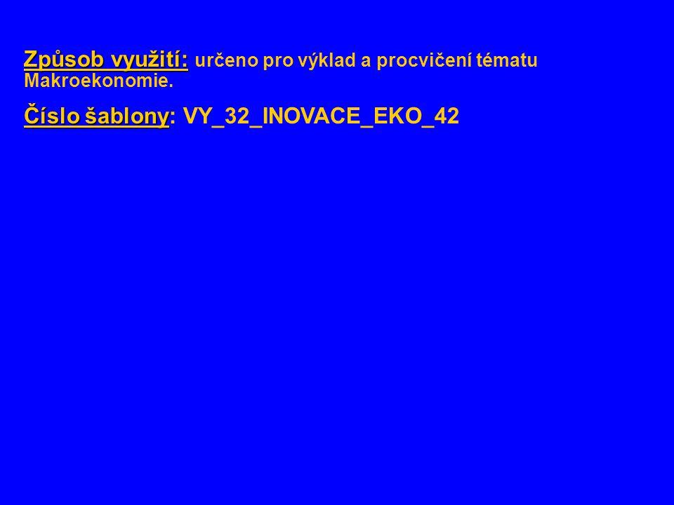 Způsob využití: Způsob využití: určeno pro výklad a procvičení tématu Makroekonomie. Číslo šablony Číslo šablony: VY_32_INOVACE_EKO_42