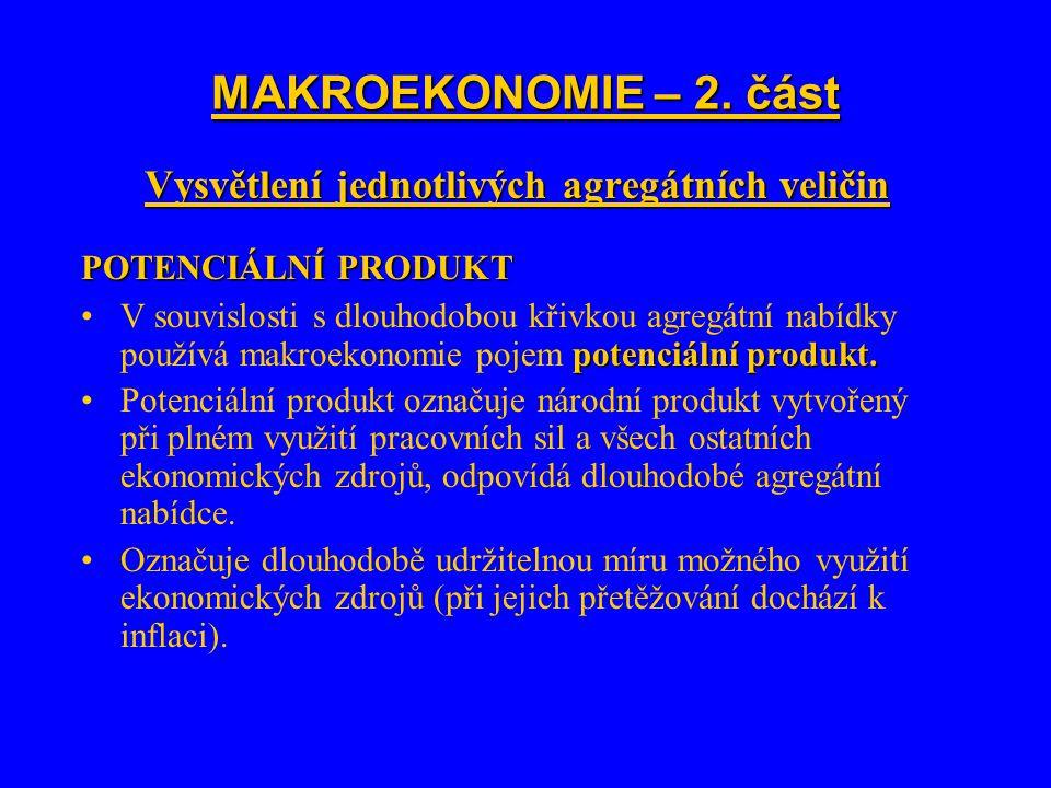 MAKROEKONOMIE – 2. část Vysvětlení jednotlivých agregátních veličin POTENCIÁLNÍ PRODUKT potenciální produkt.V souvislosti s dlouhodobou křivkou agregá