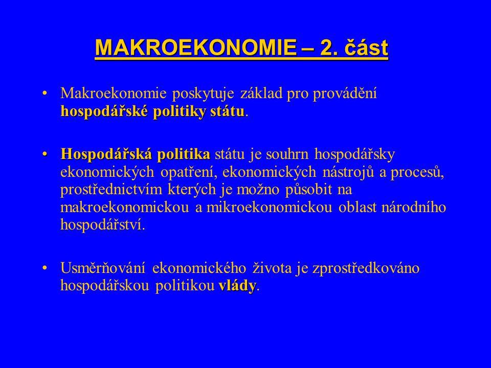 MAKROEKONOMIE – 2. část hospodářské politiky státuMakroekonomie poskytuje základ pro provádění hospodářské politiky státu. Hospodářská politikaHospodá