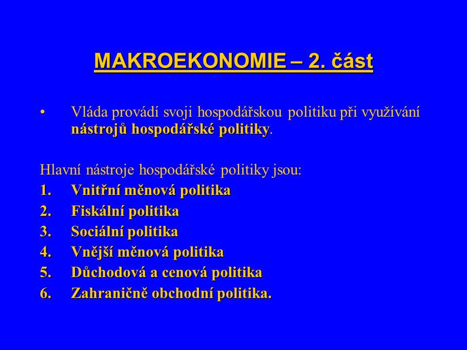 MAKROEKONOMIE – 2. část nástrojů hospodářské politikyVláda provádí svoji hospodářskou politiku při využívání nástrojů hospodářské politiky. Hlavní nás