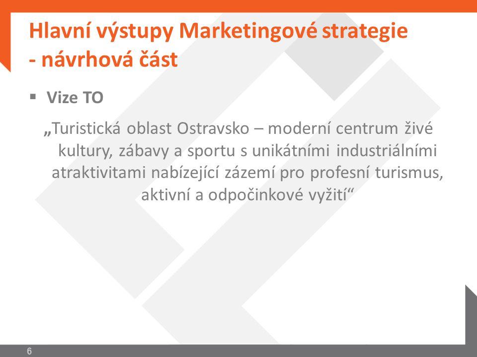 """Hlavní výstupy Marketingové strategie – návrhová část  Kvantitativní cíl """"Růst počtu turistů, jak zahraničních, tak i domácích – měřeno ročně, dle výchozího stavu roku 2009 7"""