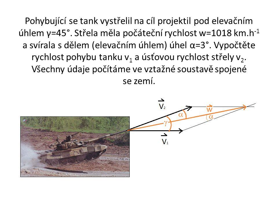 Pohybující se tank vystřelil na cíl projektil pod elevačním úhlem γ=45°.