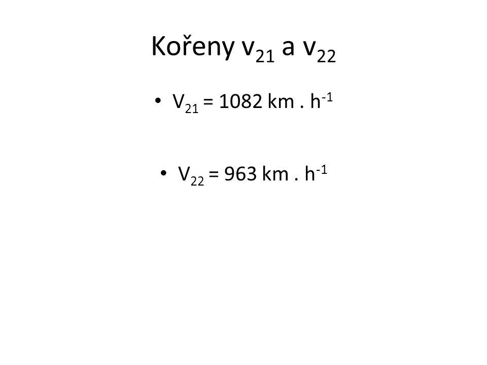 Kořeny v 21 a v 22 V 21 = 1082 km. h -1 V 22 = 963 km. h -1