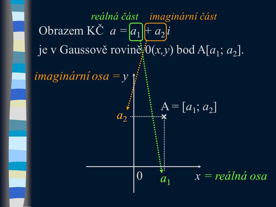 Obrazem KČ a = a 1 + a 2 i je v Gaussově rovině 0(x,y) bod A[a 1 ; a 2 ].