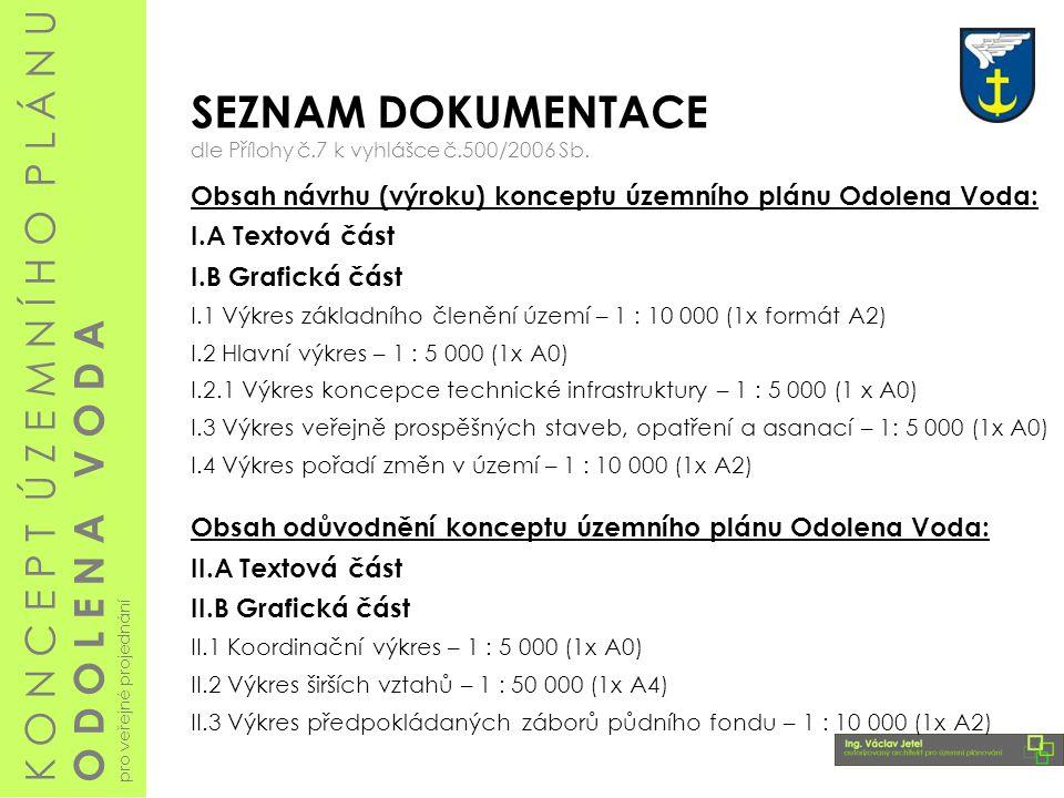 SEZNAM DOKUMENTACE dle Přílohy č.7 k vyhlášce č.500/2006 Sb. Obsah návrhu (výroku) konceptu územního plánu Odolena Voda: I.A Textová část I.B Grafická