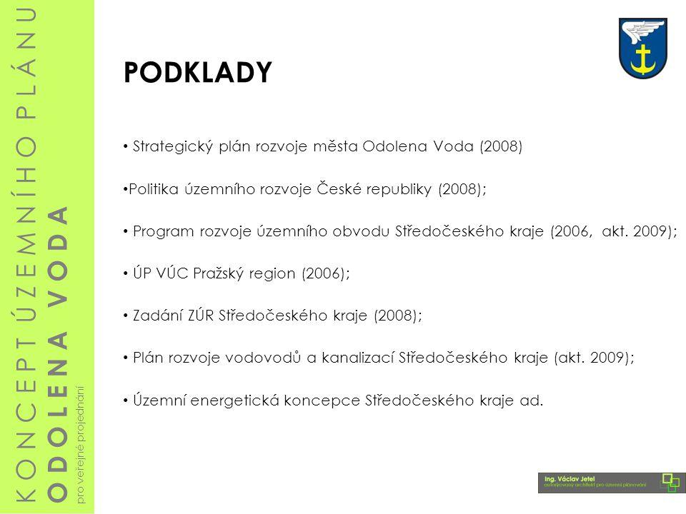 PODKLADY Strategický plán rozvoje města Odolena Voda (2008) Politika územního rozvoje České republiky (2008); Program rozvoje územního obvodu Středočeského kraje (2006, akt.