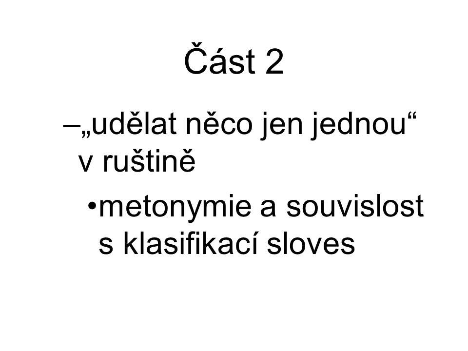 """Část 2 –""""udělat něco jen jednou v ruštině metonymie a souvislost s klasifikací sloves"""