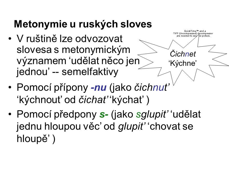 Metonymie u ruských sloves V ruštině lze odvozovat slovesa s metonymickým významem 'udělat něco jen jednou' -- semelfaktivy Pomocí přípony -nu (jako čichnut' 'kýchnout' od čichat' 'kýchat' ) Pomocí předpony s- (jako sglupit' 'udělat jednu hloupou věc' od glupit' 'chovat se hloupě' ) Čichnet 'Kýchne'