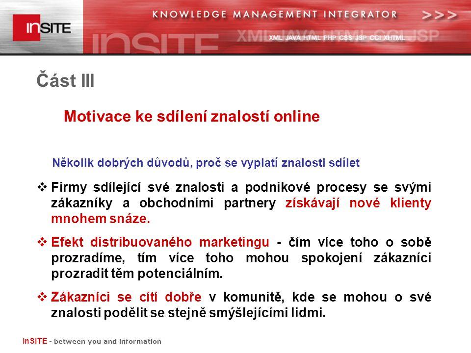 Část III Motivace ke sdílení znalostí online inSITE - between you and information  Firmy sdílející své znalosti a podnikové procesy se svými zákazníky a obchodními partnery získávají nové klienty mnohem snáze.