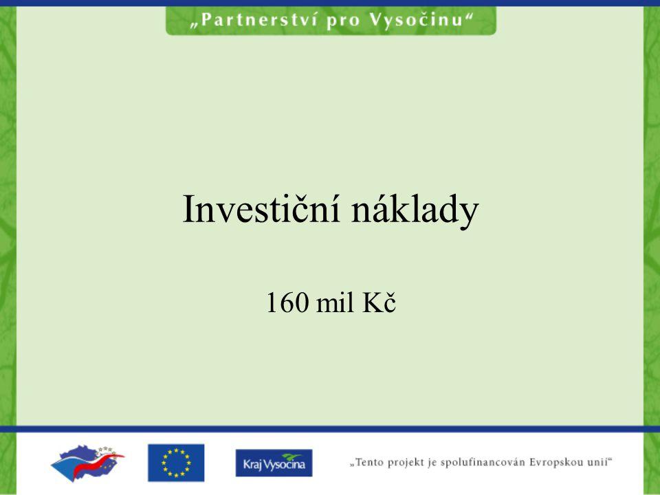 Investiční náklady 160 mil Kč