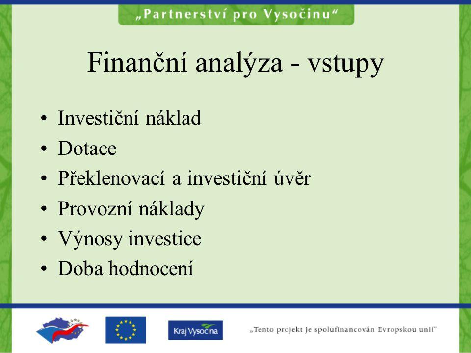Finanční analýza - vstupy Investiční náklad Dotace Překlenovací a investiční úvěr Provozní náklady Výnosy investice Doba hodnocení