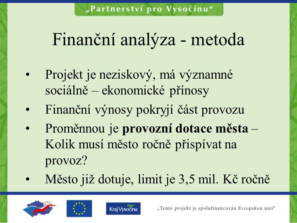 Finanční analýza - metoda Projekt je neziskový, má významné sociálně – ekonomické přínosy Finanční výnosy pokryjí část provozu Proměnnou je provozní dotace města – Kolik musí město ročně přispívat na provoz.
