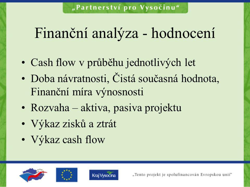Finanční analýza - hodnocení Cash flow v průběhu jednotlivých let Doba návratnosti, Čistá současná hodnota, Finanční míra výnosnosti Rozvaha – aktiva, pasiva projektu Výkaz zisků a ztrát Výkaz cash flow
