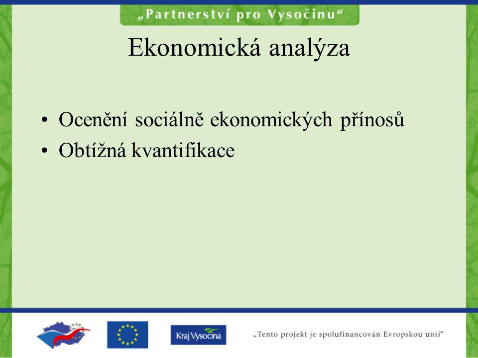 Ekonomická analýza Ocenění sociálně ekonomických přínosů Obtížná kvantifikace