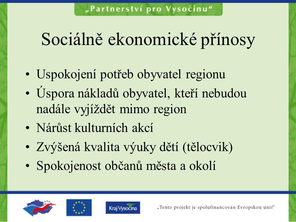 Sociálně ekonomické přínosy Uspokojení potřeb obyvatel regionu Úspora nákladů obyvatel, kteří nebudou nadále vyjíždět mimo region Nárůst kulturních ak