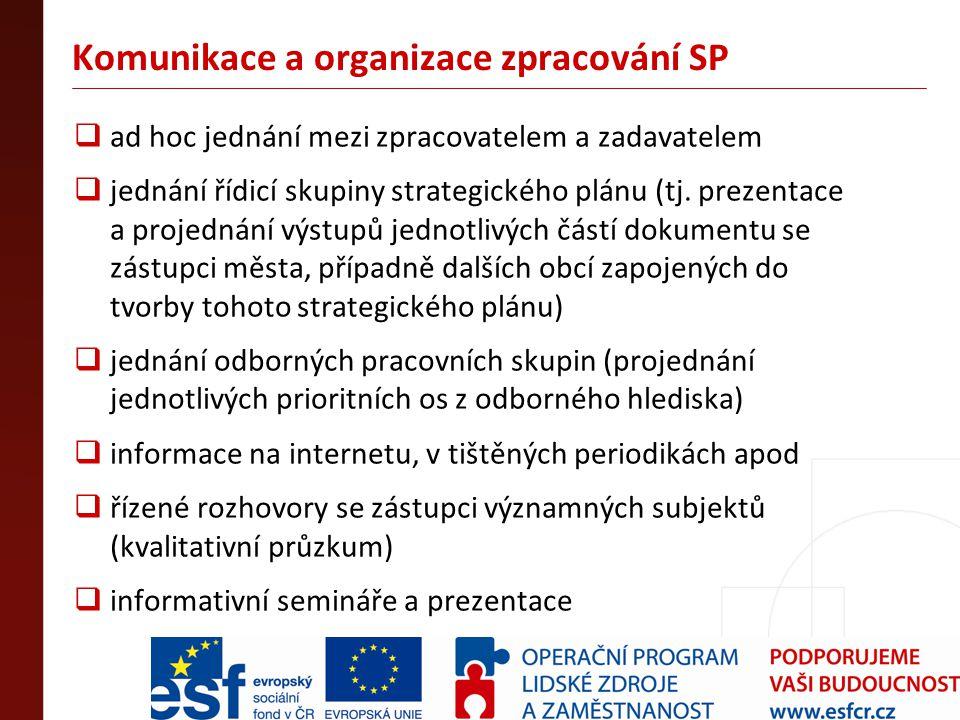 Komunikace a organizace zpracování SP  ad hoc jednání mezi zpracovatelem a zadavatelem  jednání řídicí skupiny strategického plánu (tj. prezentace a