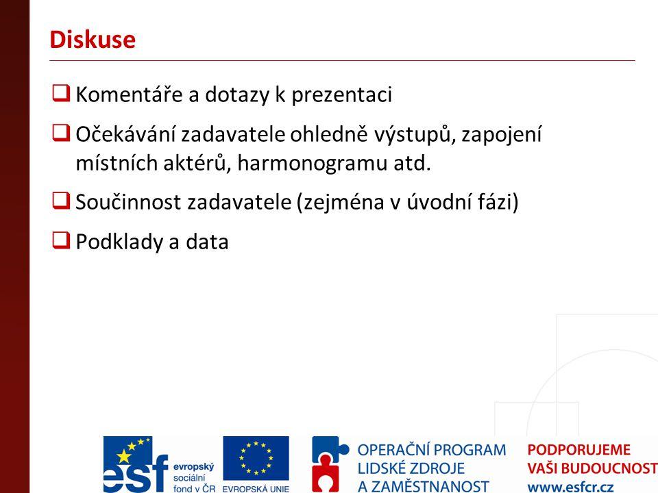 Diskuse  Komentáře a dotazy k prezentaci  Očekávání zadavatele ohledně výstupů, zapojení místních aktérů, harmonogramu atd.  Součinnost zadavatele