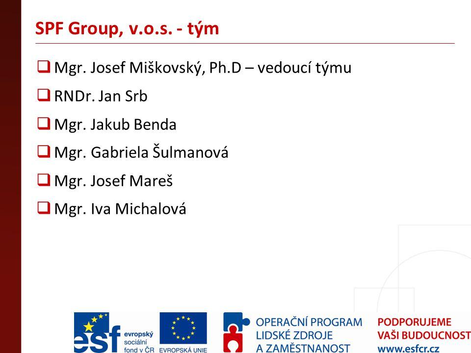 SPF Group, v.o.s. - tým  Mgr. Josef Miškovský, Ph.D – vedoucí týmu  RNDr. Jan Srb  Mgr. Jakub Benda  Mgr. Gabriela Šulmanová  Mgr. Josef Mareš 