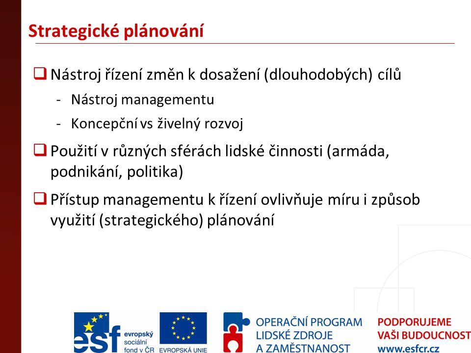Strategické plánování  Nástroj řízení změn k dosažení (dlouhodobých) cílů -Nástroj managementu -Koncepční vs živelný rozvoj  Použití v různých sférá