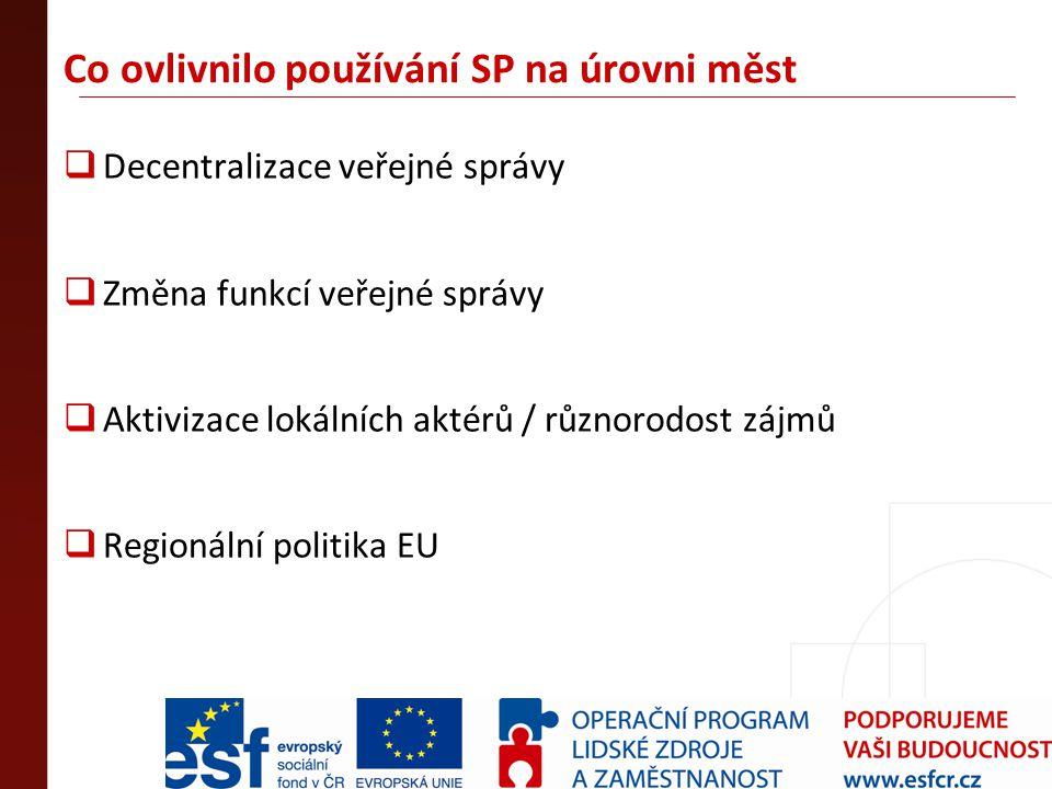 Co ovlivnilo používání SP na úrovni měst  Decentralizace veřejné správy  Změna funkcí veřejné správy  Aktivizace lokálních aktérů / různorodost záj