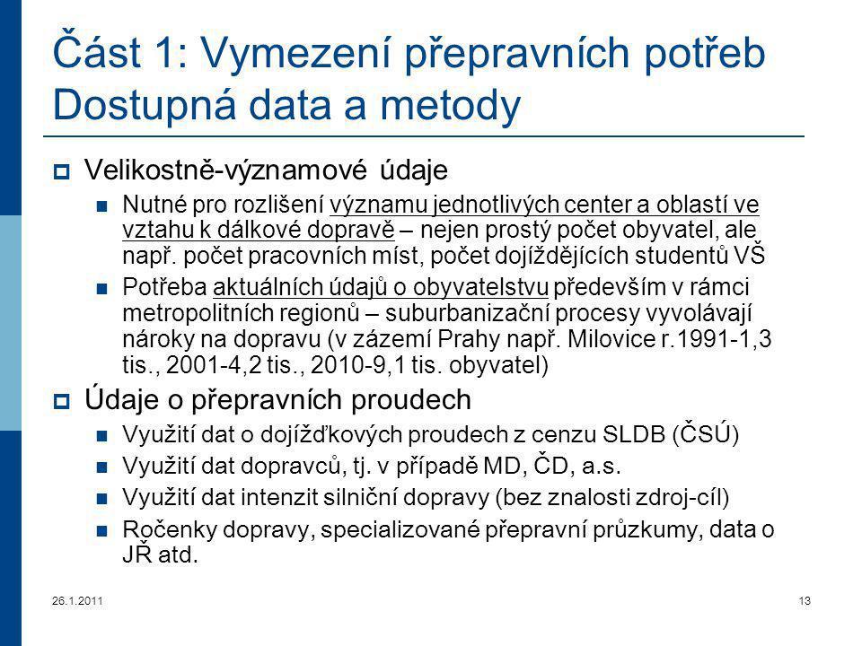 26.1.201113 Část 1: Vymezení přepravních potřeb Dostupná data a metody  Velikostně-významové údaje Nutné pro rozlišení významu jednotlivých center a
