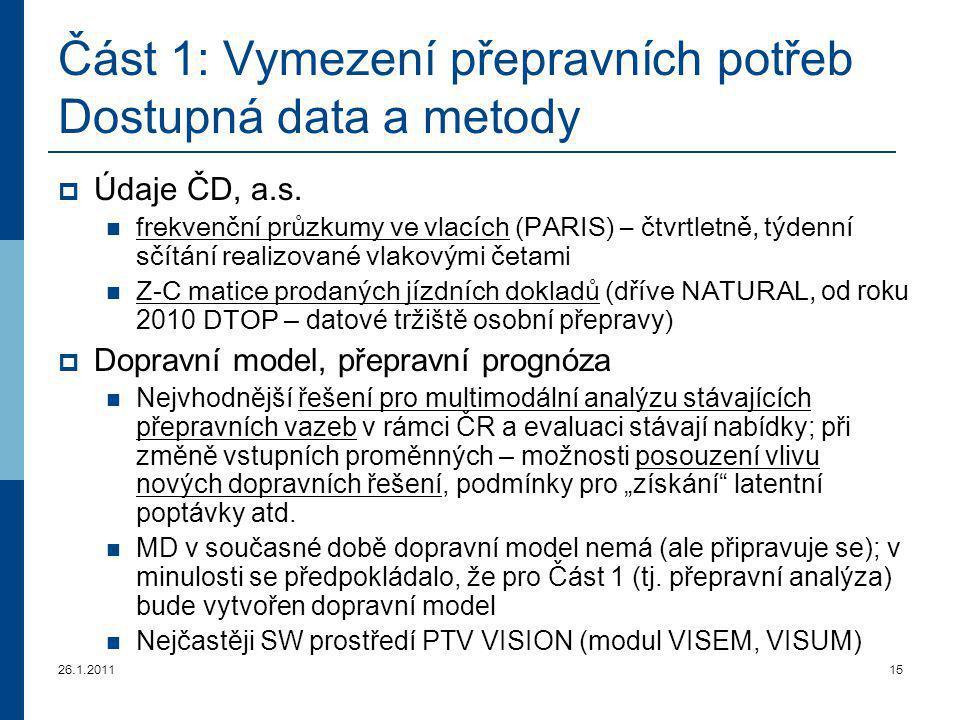 26.1.201115 Část 1: Vymezení přepravních potřeb Dostupná data a metody  Údaje ČD, a.s. frekvenční průzkumy ve vlacích (PARIS) – čtvrtletně, týdenní s
