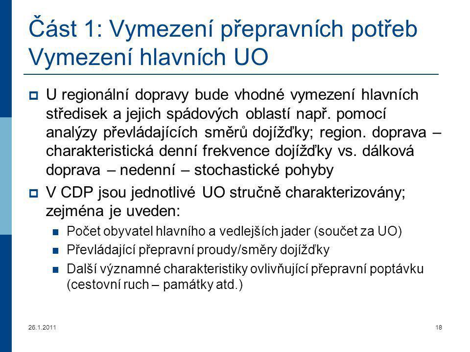 26.1.201118 Část 1: Vymezení přepravních potřeb Vymezení hlavních U O  U regionální dopravy bude vhodné vymezení hlavních středisek a jejich spádovýc