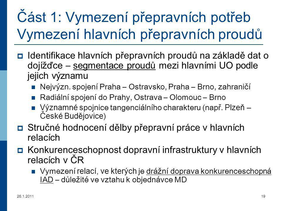 26.1.201119 Část 1: Vymezení přepravních potřeb Vymezení hlavních přepravních proudů  Identifikace hlavních přepravních proudů na základě dat o dojíž