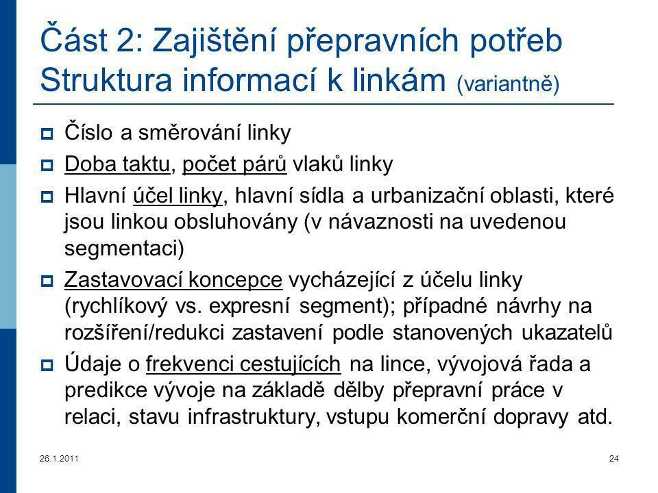 26.1.201124 Část 2: Zajištění přepravních potřeb Struktura informací k linkám (variantně)  Číslo a směrování linky  Doba taktu, počet párů vlaků lin
