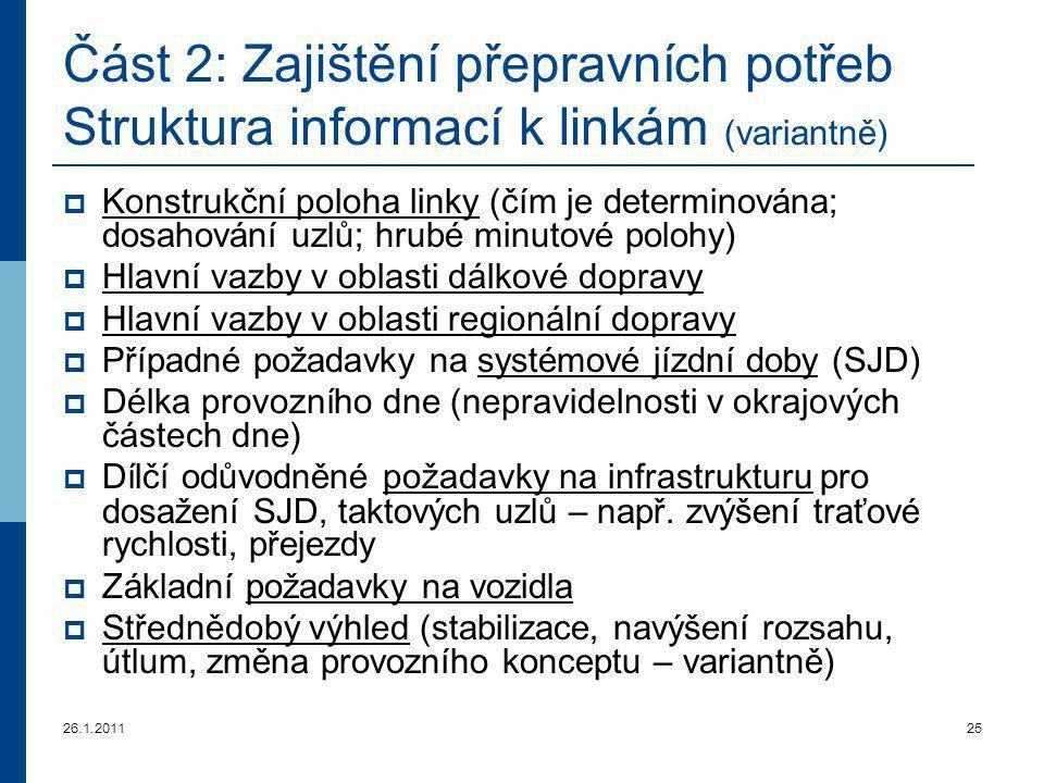 26.1.201125 Část 2: Zajištění přepravních potřeb Struktura informací k linkám (variantně)  Konstrukční poloha linky (čím je determinována; dosahování