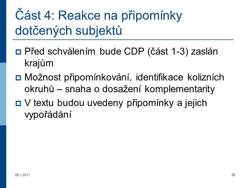 26.1.201128 Část 4 : Reakce na připomínky dotčených subjektů  Před schválením bude CDP (část 1-3) zaslán krajům  Možnost připomínkování, identifikac