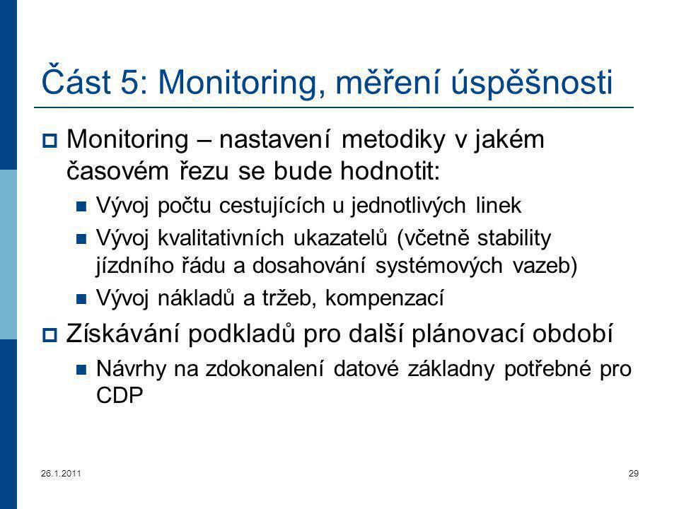 26.1.201129 Část 5 : Monitoring, měření úspěšnosti  Monitorin g – nastavení metodiky v jakém časovém řezu se bude hodnotit: Vývoj počtu cestujících u