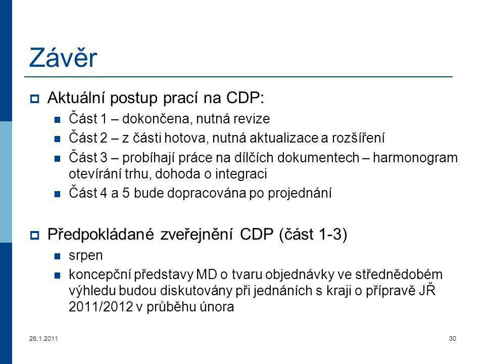 26.1.201130 Závěr  Aktuální postup prací na CDP: Část 1 – dokončena, nutná revize Část 2 – z části hotova, nutná aktualizace a rozšíření Část 3 – pro