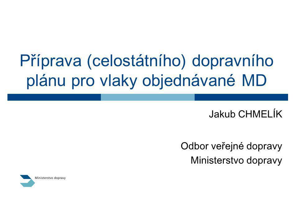 Příprava (celostátního) dopravního plánu pro vlaky objednávané MD Jakub CHMELÍK Odbor veřejné dopravy Ministerstvo dopravy