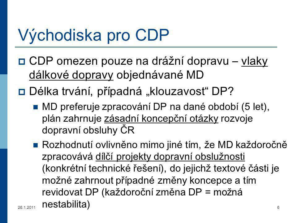 """26.1.20116 Východiska pro CDP  CDP omezen pouze na drážní dopravu – vlaky dálkové dopravy objednávané MD  Délka trvání, případná """"klouzavost"""" DP? MD"""