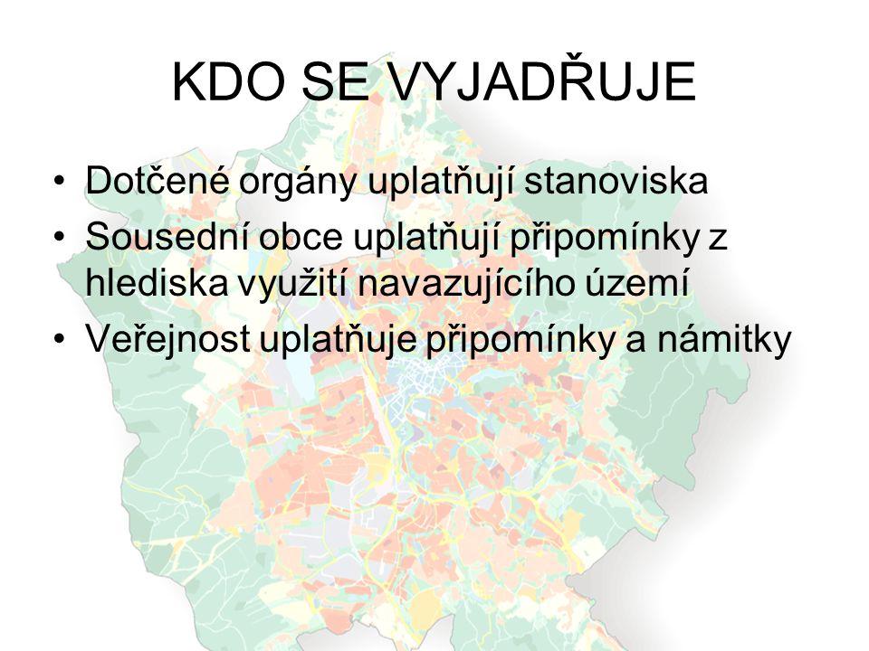 KDO SE VYJADŘUJE Dotčené orgány uplatňují stanoviska Sousední obce uplatňují připomínky z hlediska využití navazujícího území Veřejnost uplatňuje přip