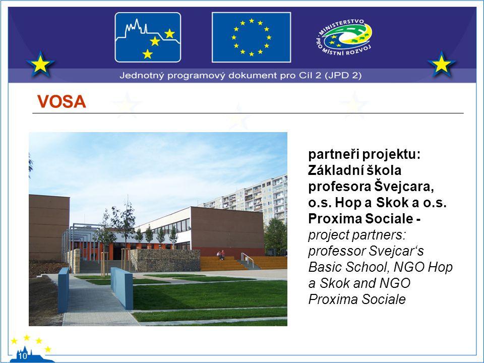 VOSA 10 partneři projektu: Základní škola profesora Švejcara, o.s. Hop a Skok a o.s. Proxima Sociale - project partners: professor Svejcar's Basic Sch
