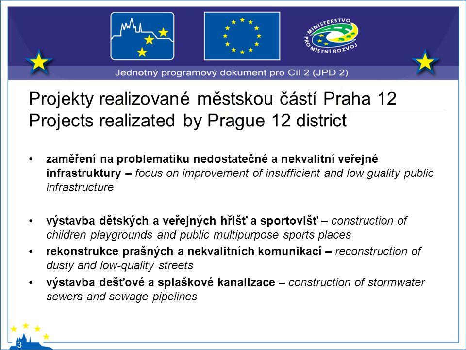 Projekty realizované městskou částí Praha 12 Projects realizated by Prague 12 district zaměření na problematiku nedostatečné a nekvalitní veřejné infr
