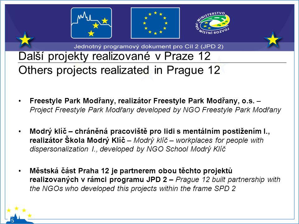Další projekty realizované v Praze 12 Others projects realizated in Prague 12 Freestyle Park Modřany, realizátor Freestyle Park Modřany, o.s. – Projec