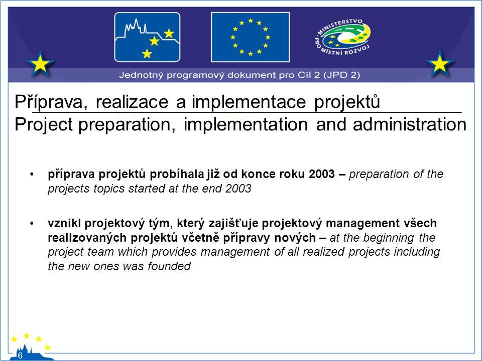 Příprava, realizace a implementace projektů Project preparation, implementation and administration příprava projektů probíhala již od konce roku 2003