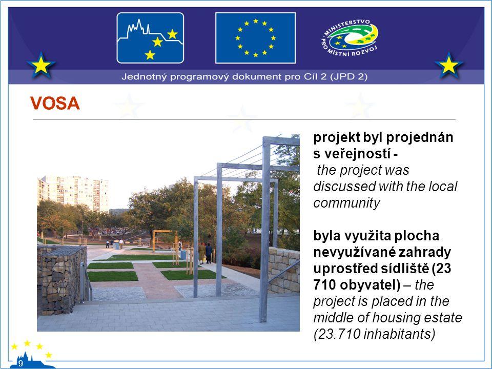 VOSA 9 projekt byl projednán s veřejností - the project was discussed with the local community byla využita plocha nevyužívané zahrady uprostřed sídli