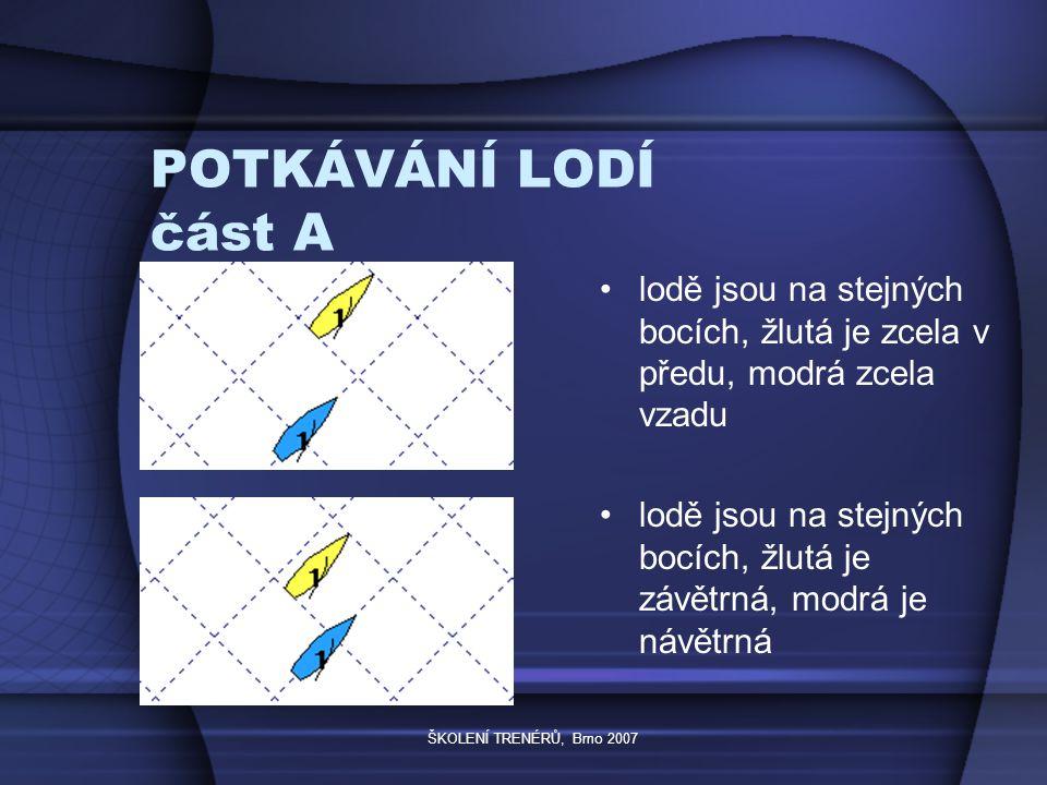 ŠKOLENÍ TRENÉRŮ, Brno 2007 POTKÁVÁNÍ LODÍ část A lodě jsou na stejných bocích, žlutá je zcela v předu, modrá zcela vzadu lodě jsou na stejných bocích, žlutá je závětrná, modrá je návětrná